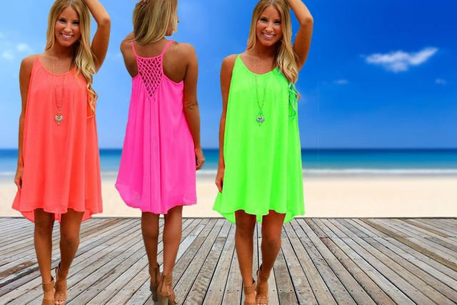 6777965f00 £6.99 instead of £32.99 for a fluorescent chiffon beach dress - choose from  three colours from Anarchy - save 79%