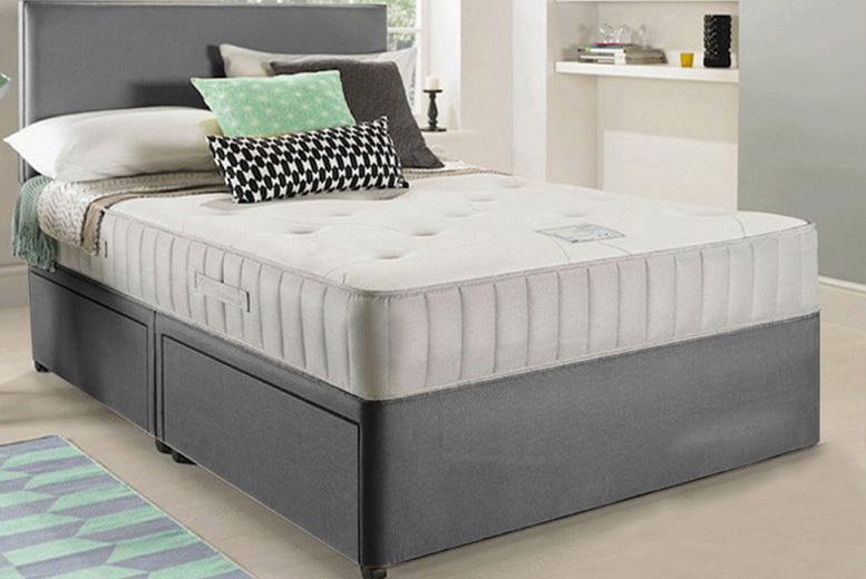Image of From £119 instead of £569.01 (from Dining Tables) for a single luxury suede divan bed, £149 for a small double, £159 for a double, £169 for a king or £199 for a super king - save up to 79%