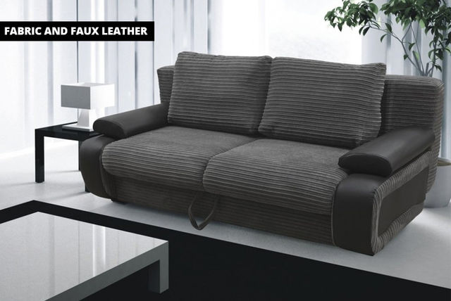 Fabric Faux Leather Sofa Bed Shopping Livingsocial