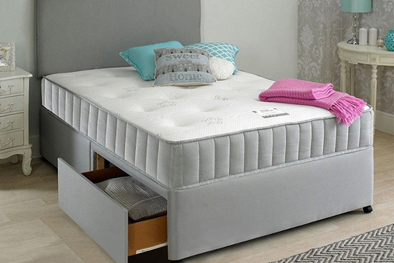 Image of From £119 (from Dining Tables) for a single Oslo fabric divan bed set with headboard and mattress - choose from five sizes, three colours, upgrade to include two or four drawers and save up to 75%