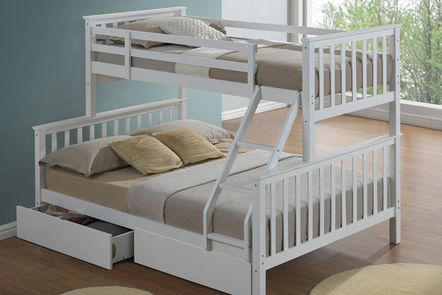 3 Person Bunk Bed 2 Colours Beds Mattresses Deals In