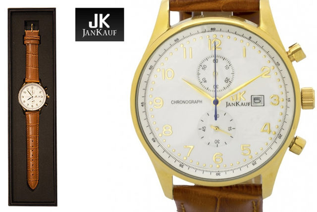 99525c66459f £39 instead of £299 (from Jan Kauf) for a men s JK1037 brown and gold  leather watch - save 87%