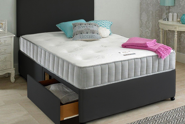 Image of From £109 (from Dining Tables) for an Oslo fabric divan bed set with headboard and mattress - choose from five sizes, three colours, and drawer options while saving up to 77%