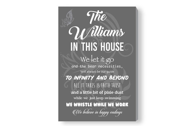 37374495a799c Disney-Inspired Personalised House Rules Canvas | Canvas/Art ...