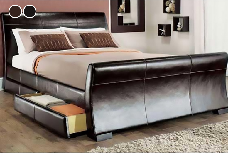 Image of From £119 instead of £569.01 (from Dining Tables) for a Venetian storage sleigh bed with optional memory foam or spring mattress - save up to 79%
