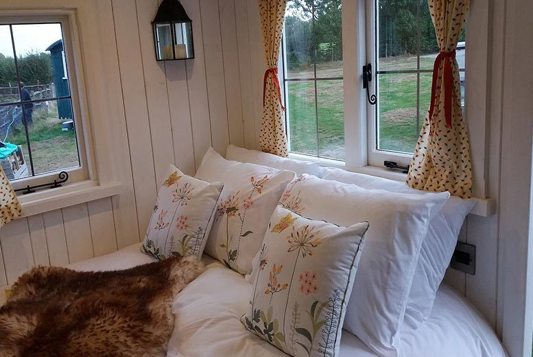 2nt High Weald Luxury Shepherd's Hut Glamping Stay for 2 or 4