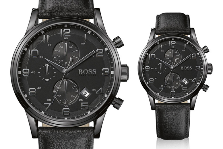 £109 instead of £286 (from Best Watch Company) for a mens Hugo Boss Aeroliner chronograph black leather watch - save 62%