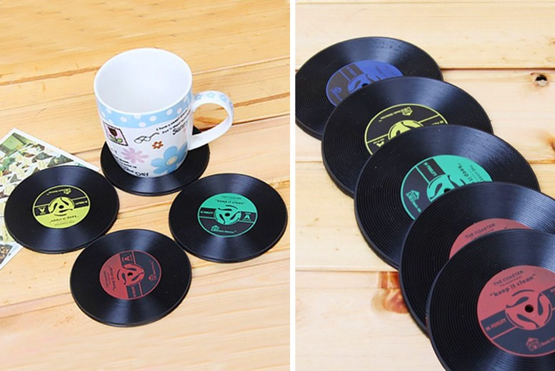 Image of 99p instead of £4.99 (from Wow What Who) for a vinyl record coasters or £3.99 for six coasters - save 80%