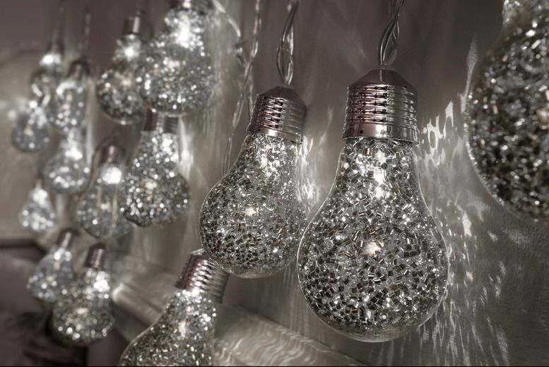 Image of £11.99 instead of £29.99 for 20 large Christmas LED glitter bulbs in red, gold or silver from Shop At Home - save 60%